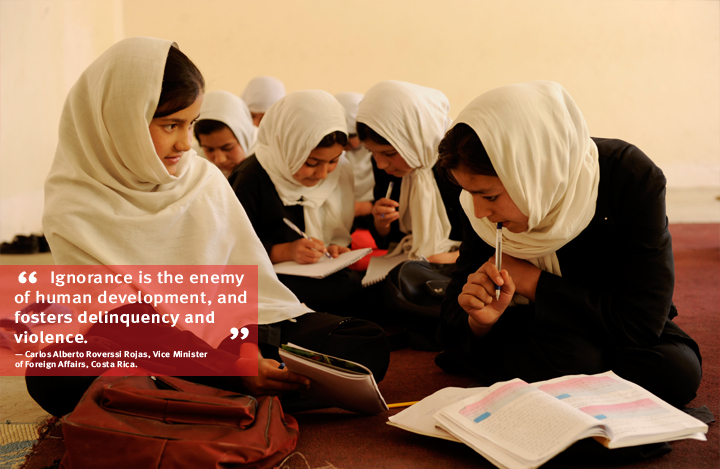 Afghanistan: Sara and her classmates study at the first girl's school in Farza, Kabul. A UNDP-supported programme helps anti-government elements to renounce violence, and reintegrate and become a productive part of Afghan society. Photo: Farzana Wahidy/UNDP