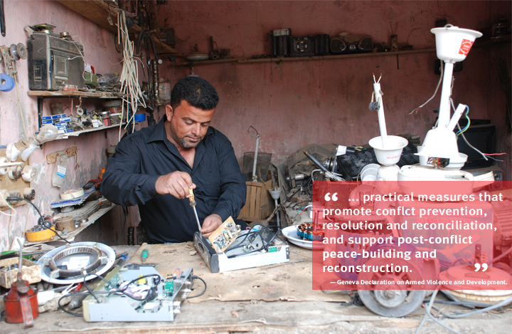Iraq: A beneficiary of the Local Area Development Programme fixes a television receiver in his shop in Chebayesh. Photo: Spacetoons/UNDP Iraq