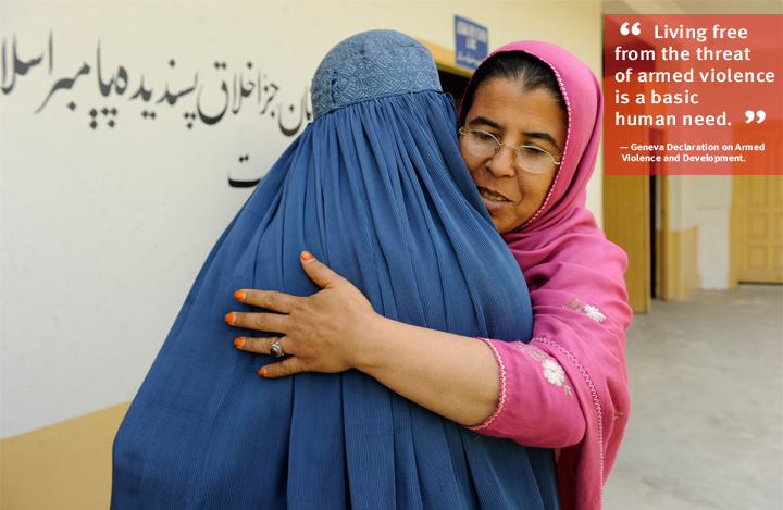 Afghanistan: 15-year-old Torpaikai, left, farewells Mahtab Malikzai, deputy manager at the Legal and Help Center in Jalalabad, which is supported by the UNDP Institutional Capacity Building for Gender Equality. Photo: Farzana Wahidy/UNDP